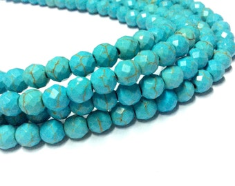 4mm Turquoise Faceted Beads - 14 inch Full strand - Faceted Turquoise