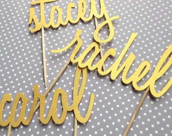 Small Cake Topper - Personalized Name - Party Decor - Birthday Girl - Cursive Script - Custom Paper Cut - Toothpick Skewers - Bridal Shower