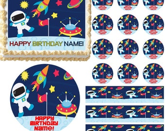 Outer SPACE SHIP SPACEMAN Astronaut Edible Cake Topper Image Frosting Sheet Cake Decoration