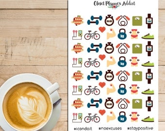 Health and Fitness Planner Stickers   Exercise Workout   Exercise Gear   Fitness Stickers (S-021)