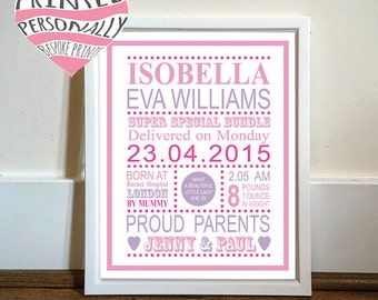 New baby gift - Personalised typography print - Baby boy - Baby girl - Personalised print - New baby gift - Personalised gift