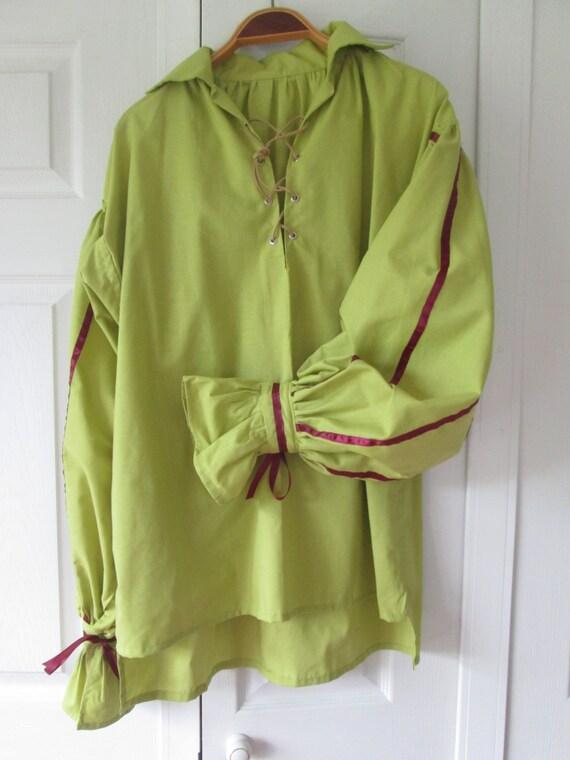 Renaissance men 39 s shirt pirate apple green with for Apple green dress shirt