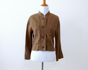 80s/90s Brown Linen Cropped Boxy Jacket Size Medium