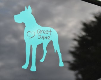 Great Dane Decal - Dog Car Decal - Dog Rescue - Dog Lover Gift - Dog Breed Decal