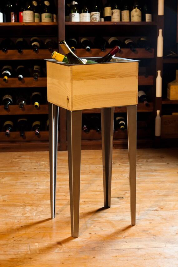 Glacette per bottiglie di vino in legno e acciaio - Portaghiaccio per bottiglie ...