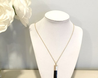 Simple Colored Bar Necklace, Black Bar Necklace, Pendant Necklace, Bridesmaids Necklace, Dainty Necklace