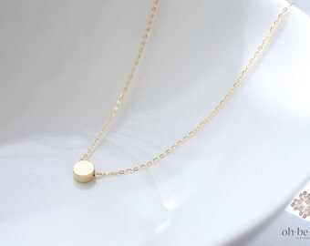 Tiny gold dot necklace -  dainty disk necklace - minimal gold necklace - 14k gold filled necklace - simple everyday jewelry-