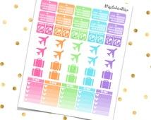 TRAVEL KIT - PRINTABLE Pdf Jpg - Erin Condren Plum Paper Planner Filofax Inkwell Press Stickers Half Boxes Airplane Suitcase Checklists