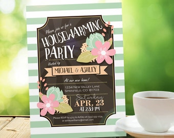 Retro Housewarming Party Invitation - Personalized Printable DIGITAL FILE