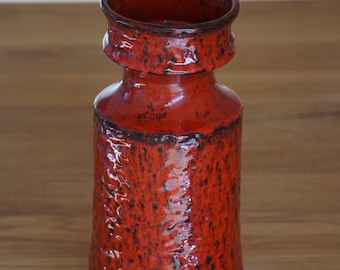 Large red fat lava floor vase by Jasba, 1970s