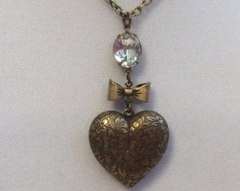 Heart Necklace, Heart Assemblage Necklace, Vintage Inspired Heart Necklace