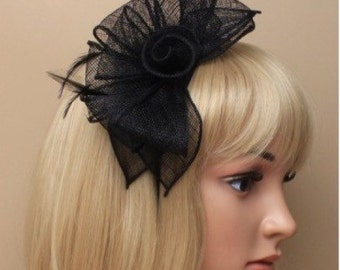 Black Hat Fascinator with Fabric Flower Fascinator Headband, Head Piece, Mother of the Bride, Christening, Races, Derby, Ascot