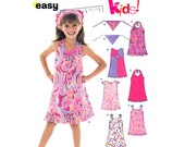 Girls Dress Pattern New Look 6478 Halter Dress, Shoulder Tie Sundress, Hair Kerchief Pattern Size 3 4 5 6 7 8 UNCUT