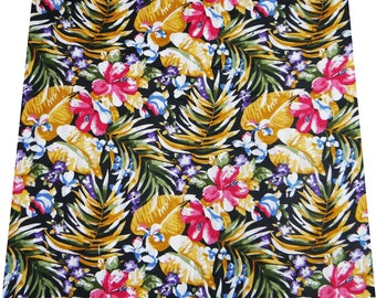 """Indian Designer Fabric, Floral Print, Black Fabric, Quilting Fabric, Handmade, 45"""" Inch Cotton Fabric By The Yard ZBC1122"""