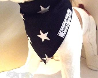 Dog Puppy Neckerchief Bandana Scarf - Self Tie Dog Bandana  -  Black with White Star Print