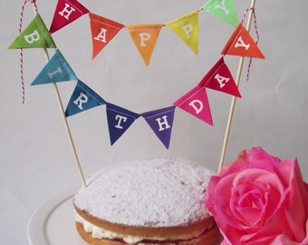 Happy Birthday Cake Topper Rainbow Bunting