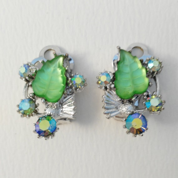 vintage clip on earrings green leaf shape rhinestone