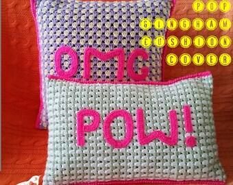 Neon Pop! Gingham Crochet Cushion Cover Pattern
