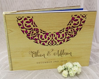 Personalized Guest Book, Custom Guest Book, Wood Wedding Guest Book, Rustic Wedding Guestbook, Wood Guestbook, Guest Book Wedding GB34
