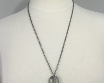 Gunmetal rolo chain with a soldered Crystal pendant