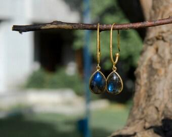 Vibrant Dangle Earrings-MOR. Genuine Labradorite Gemstone and  Pure 925 Silver. 18k Gold Polish. Meaningful gift.