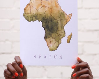 8x10 print / Africa / Map of Africa / Continental Map of Africa