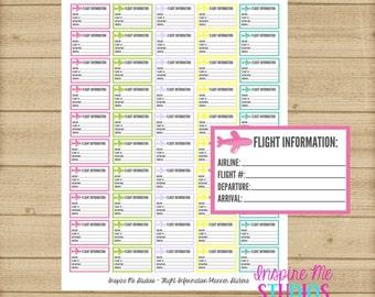 Printable Flight Information Planner Stickers / Erin Condren Stickers / Happy Planner Stickers / Flight / Travel / Travel Stickers