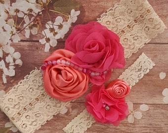 Fuchsia and Poppy Wedding Garter,Poppy annd Fuchsia Garter Set,HotPink and Coral Wedding Garters,Coral and Rose Garters,Plus size Garter set