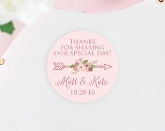 Modern Personalized 2 Inch Wedding Favor Stickers, Custom Wedding Favor Labels, Stickers For Favors