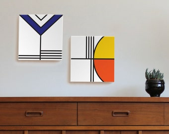 mid century modern art, canvas print, geometric print, bauhaus, minimal, Scandinavia, mondrian, prairie style