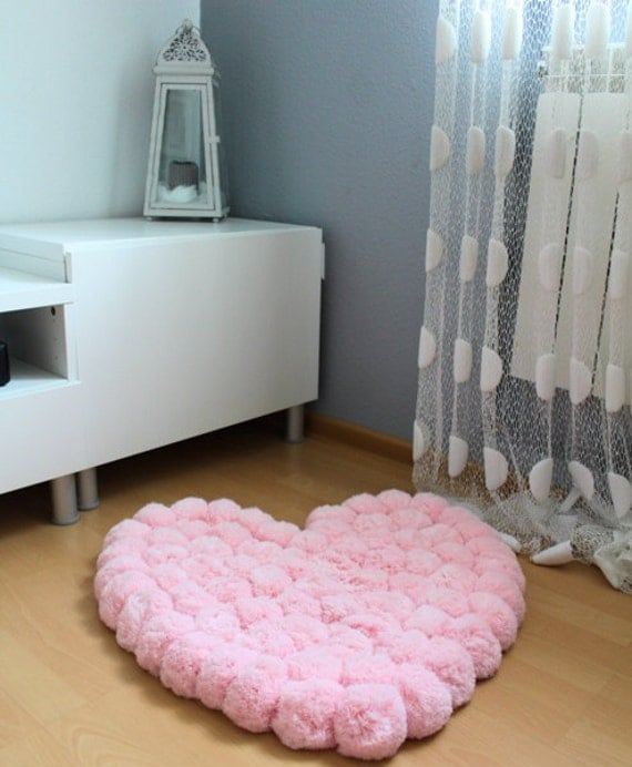 Heart Rug Pom Pom Rug Area Rug Princess Rug By PomPomMyWorld