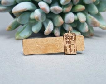 TARDIS Tie Bar - Laser Engraved Alder Wood - Doctor Who Tie Clip