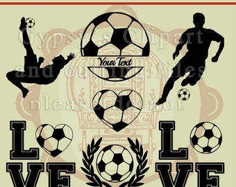 Soccer SVG, Soccer Cameo Silhouette Design, Soccer Cricut Design, Soccer Monogram, , Cutting File, Eps, svg, ai, dxf, png