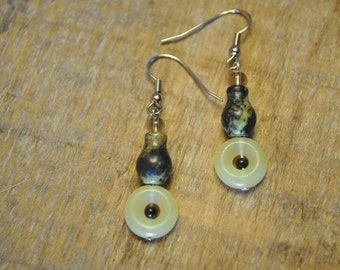 Yellow Jade Earrings - 023