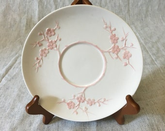 Vintage Spode Light Pink Geisha Plate, Blanche De Chine, Cream Soup Bowl Underplate