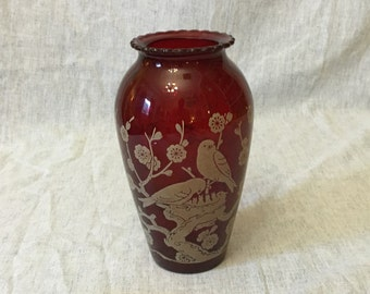 Vintage Anchor Hocking Novelty Ruby Red Vase with Birds and Apple Blossoms