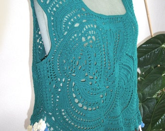crotcheted green top