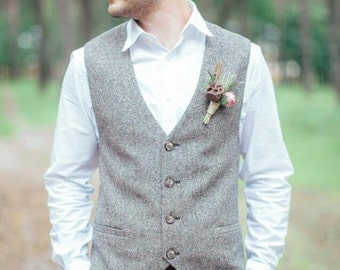 Vest men, mens waistcoat, wedding vest, tweed waistcoat, mens vest, brown vest, wool vest, tweed vest, herringbone vest, mens tweed vest.