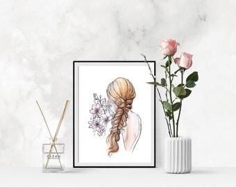 Watercolor fashion illustration print 'Secret Flowers'
