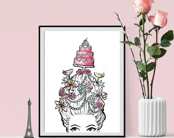 Watercolor fashion illustration print Marie Antoinette
