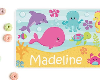 Sea animals personalized placemat, Placemats for kids, Kids placemats, Personalized with name, Laminated, Double sided placemat, PM02