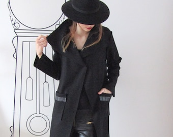 Extravagant Coat With Patch Pockets / Long Sleeve Cashmere Coat / Outerwear by FabraModaStudio / V803