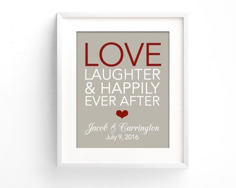 Love Laughter Happily Ever After   Anniversary Gift for Couple   Wedding Gift   Bridal Shower Gift   1st Anniversary   1 Year Anniversary