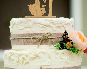 Family Wedding Cake Topper, Bride and Groom with little girl and little boy silhouette, Unique wedding cake topper, Wedding cake topper