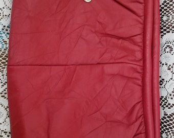 Vintage Etra Genuine Leather, red leather clutch handbag