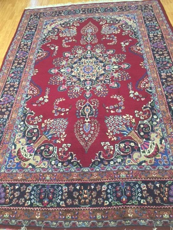 "6'3"" x 9'6"" Persian Mashad Oriental Rug - 1980s - Hand Made - 100% Wool - Vintage"