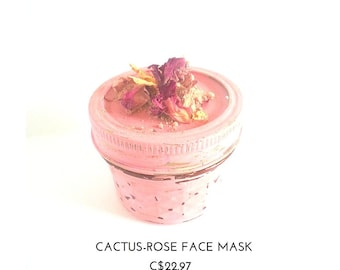Face Mask-Rose for sensitive skin, dry skin, mineral powder, anti-oxidant, mature skin, organic skincare, rose petals/ cruelty free, tequila