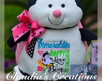 """16"""" Embroidered Ladybug Plush. Personalized, baby, baptism, shower, birthday, adoption"""