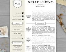 unique resume monogram related items etsy. Black Bedroom Furniture Sets. Home Design Ideas