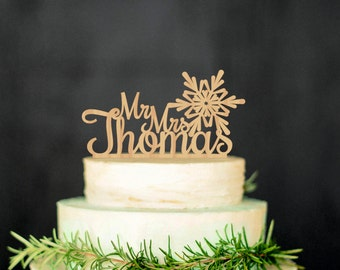 Wood Snowflake Cake Topper Custom Cake Topper Rustic Cake Topper Wedding Cake Personalized Topper